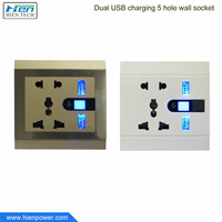 Electrical outlet face plate standard grounding wall socket with 2 USB ports EU US UK standard plug hole