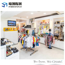 Eco-friendly sweet style kids clothes shop decoration with kids store design