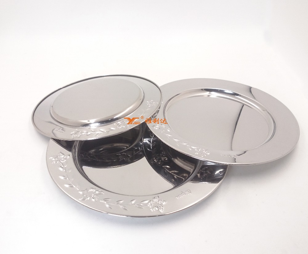 stainless steel plate mirror serving tray decorative tray for wedding