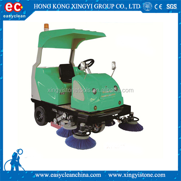 green electric sweeper snow brush machine
