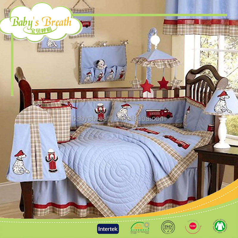 BBS208 European luxury quilted newborn baby bedding set crib boy supplies, bedding sets 100%cotton