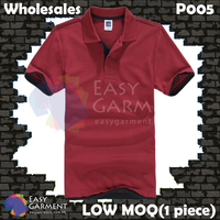 Wholesales P005 195G 40S CVC Pique 65% cotton 35% Polyster LOW MOQ Maroon Black Polo Shirt