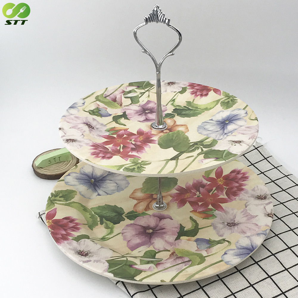 New bamboo fibre material 2 tier cake stand & fruit stand with custom print
