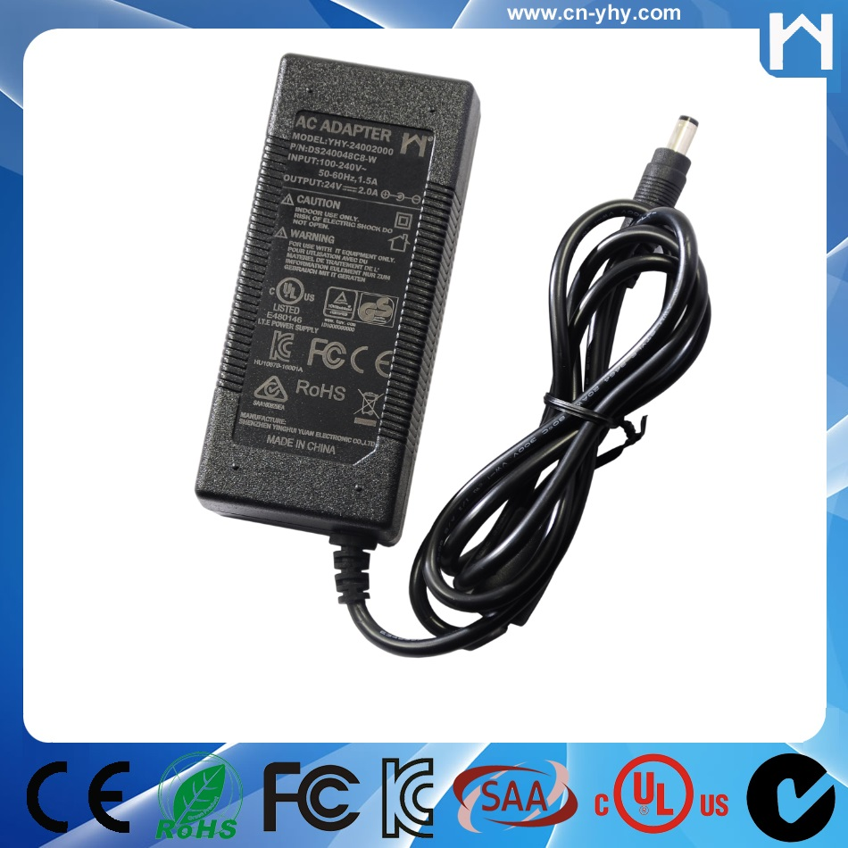 Level 6 UL Class 2 Power Supply 24 volt 2 amp power charger ac to dc power adapter 24V 2A ul cul approval