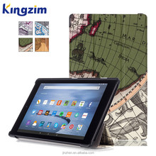 Map smart leather case for amazon fire HD 10 with waterproof 10 inch tablet case