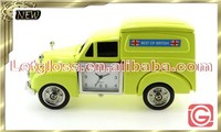 Hot zinc alloy Post office van shaped small desk clock