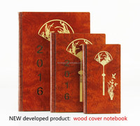 Hard cover notebook with wood material