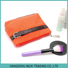 wholesale canvas cosmetic bag for ladies fashion orange travel wash bag with belt decoration