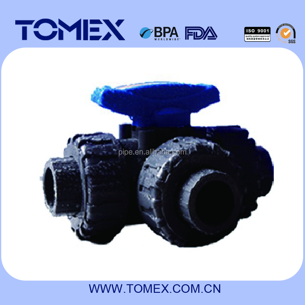 "pvc 3 way ball valve ""T"" or ""L"" type"