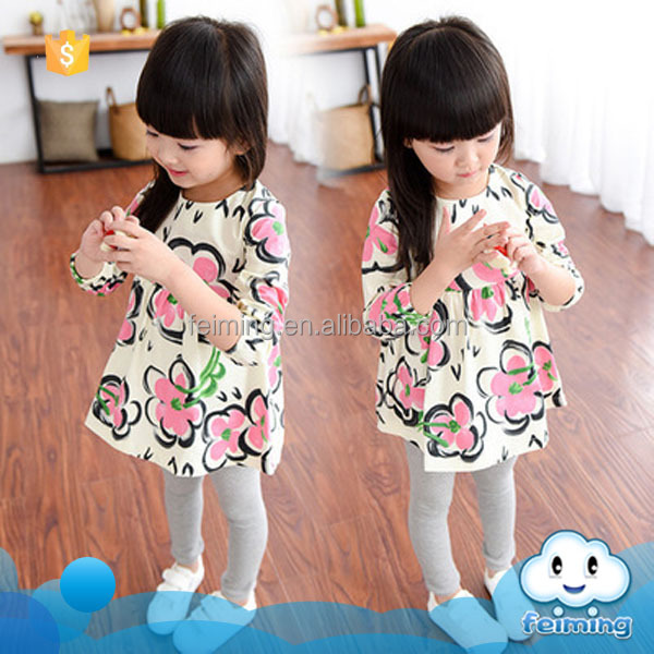 Wholesale china suppliers soft fabric good quality cheap fancy patterns fashion kids new model girl summer dresses