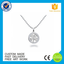Metal pendants for engraving round Natural Clover pendant