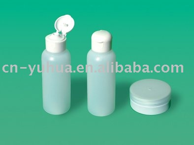 easy to carry plastic travel bottle and jar set for cosmetic