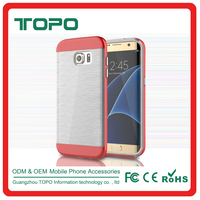 Electroplating PC transparent TPU phone cover all-round package edge protective wire drawing case for samsung galaxy s7 s7 edge