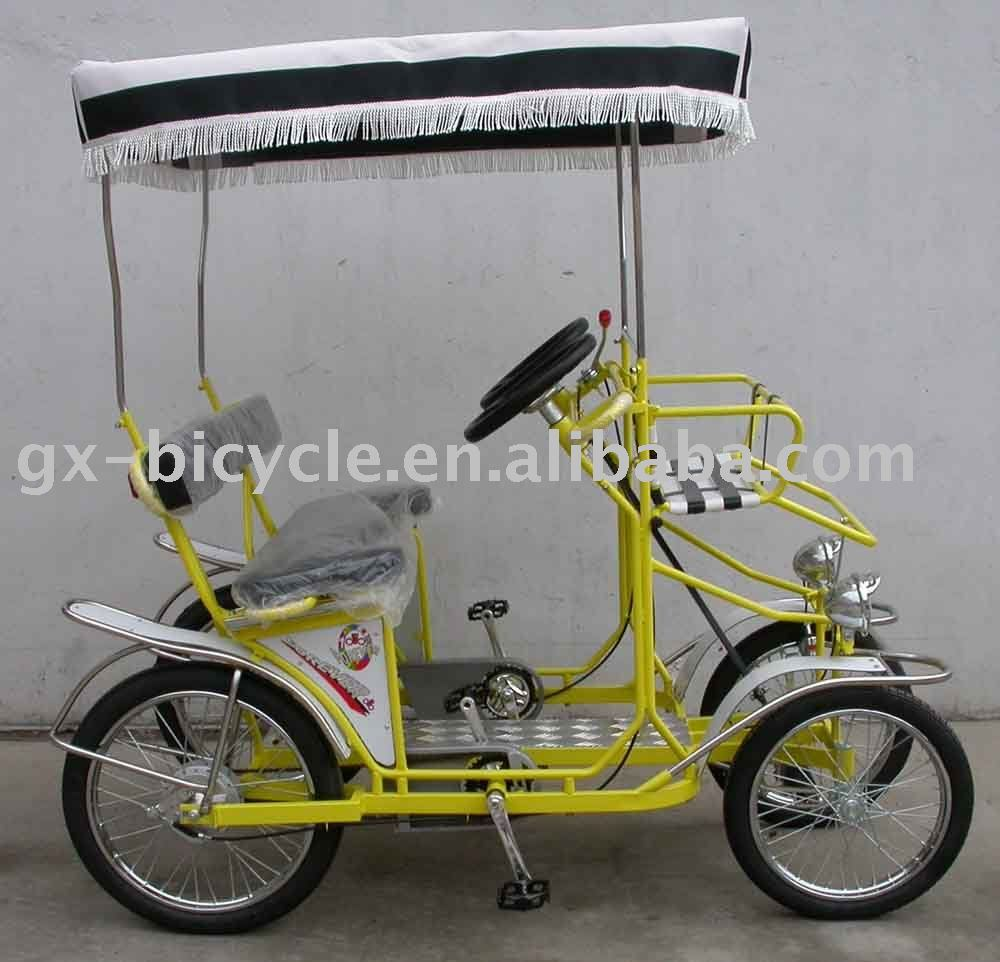 YELLOW SURREY BIKE QUADRICYCLE