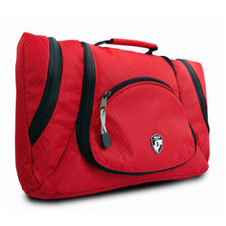 High Quality Red Polyester Waterproof Toiletry Bag Travel Toiletry Tote Bag