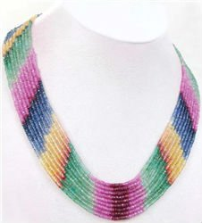 Designer Natural Loose Gemstone Beads Handcrafted Rainbow Necklace