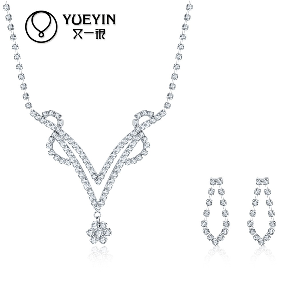 Hot popular V necklace design wedding jewelry sets, <strong>fashion</strong> directly selling sets