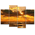 Hd Printed Sunset Seascape Canvas Wall Art Ocean Scenery Seawave Pictures for Living Room Decoration 4 Panel