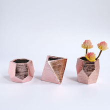 Hot sale 3.5inch geometric ceramic flower succulent pot with rose gold electroplating