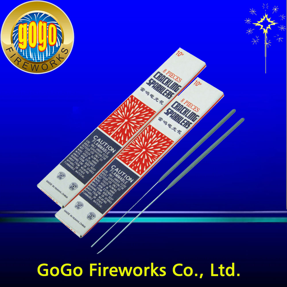 "Top sale 0790 10"" crackling sparklers bengal sparkler fireworks high quality and good price indoor wedding sparklers"