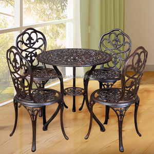 Long Life Shock Price Garden Outdoor Furniture Set Antique Wrought Iron Dining Table And Chairs With 4 Chairs