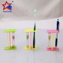 3 Minute Colored Plastic Tooth Brush Holder Hourglass Timer