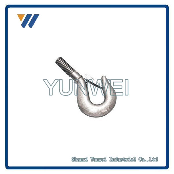 "ISO9001 Precision OEM 6"" 316-NM Forged Stainless Steel Threaded Shank Hook"