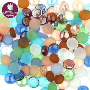 Glass factory outlet decorative colored glass pebbles for landscaping