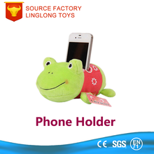 Car Plush Phone Stand PP Cotton Filled Animal Phone Holder Green Frog Plush Cell Phone Support