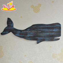 2017 New design home decoration wooden wall decor top fashion whale shape wooden wall decor W09D017