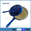 Colored enameled cast iron saucepan with long handle