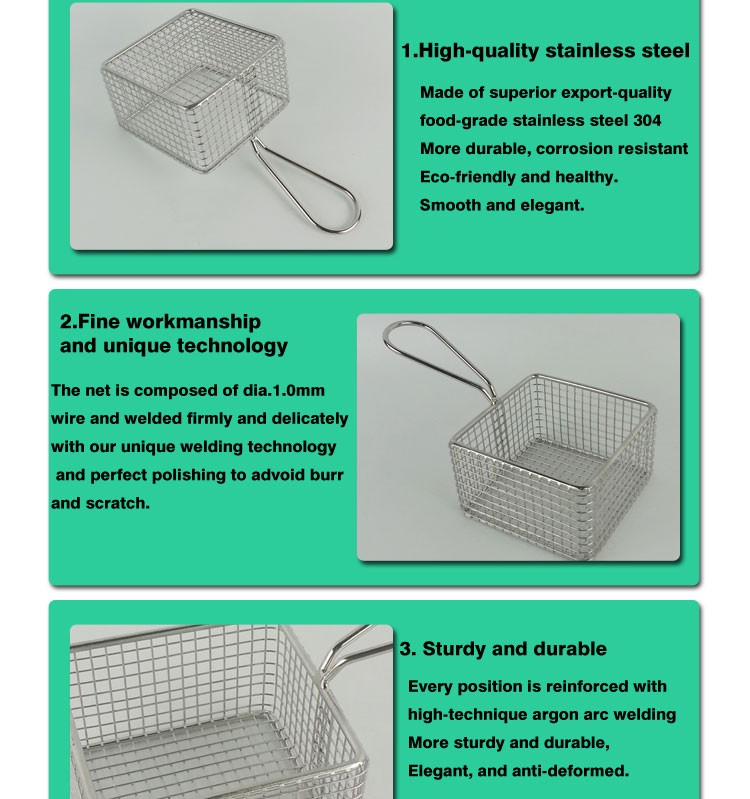 Square Stainless Steel Mini French Fry Serving Basket Square Metal Wire Serving Basket For Chip/Fast Food F0060