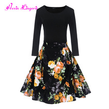 Big Stock wholesale ladies casual vintage floral printing chinese woman dress