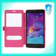 Dual Window View Sleep/Wake Flip Cover Open Window leather case for Samsung Galaxy Note 2
