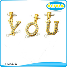 Olivia Wholesale Fashion Stainless Steel Gold Plated Crystal English Letter Alphabet Charm Pendant