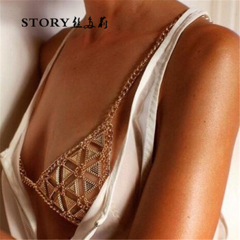 European Burning men fashion bohemia Gypsy queen punk sexy summer beach triangle body chain