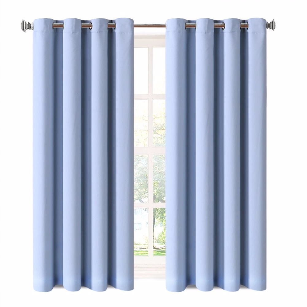 3 layer polyester Lake Blue 99% blackout thermal insulation curtain