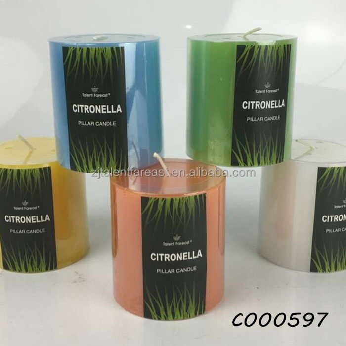 Private logo candle maker colorful flat top pillar citronella scent candle