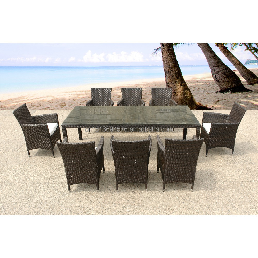 No Folded 8 PCS Dinning Chairs With Long Table Rattan/ Wicker Material Outdoor Furniture