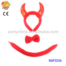 Hot red devil horn headband with tail& bow tie kit
