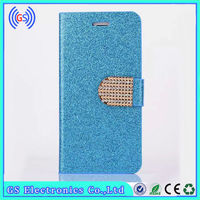 Hot Selling Shiny Powder Luxury Glitter bling Stand Wallet Case for iphone6