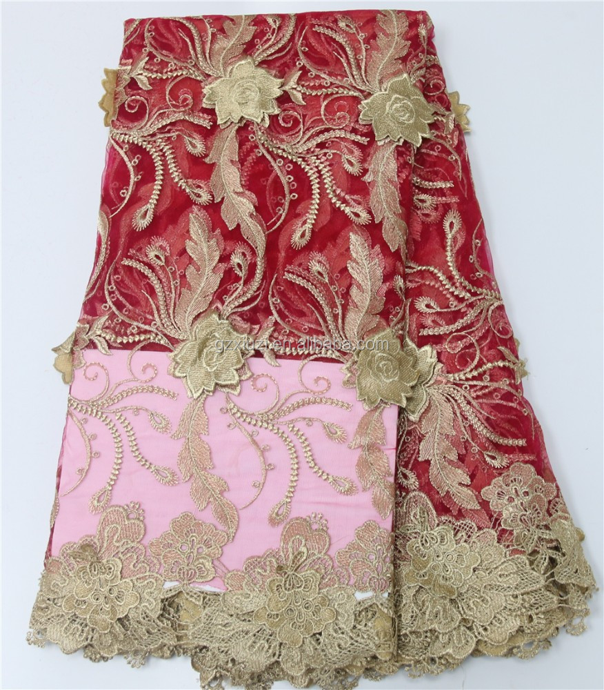 Dubai embroidered french lace red gold african style net