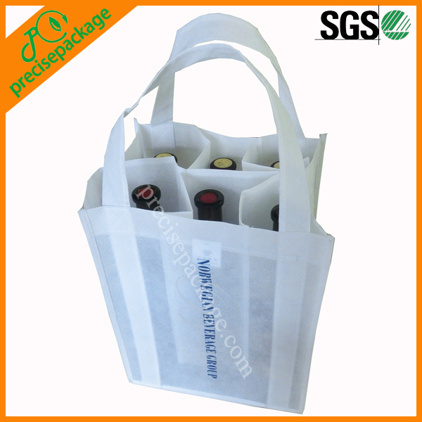 Promotional reusable non woven 6-bottle wine carrier with custom printing