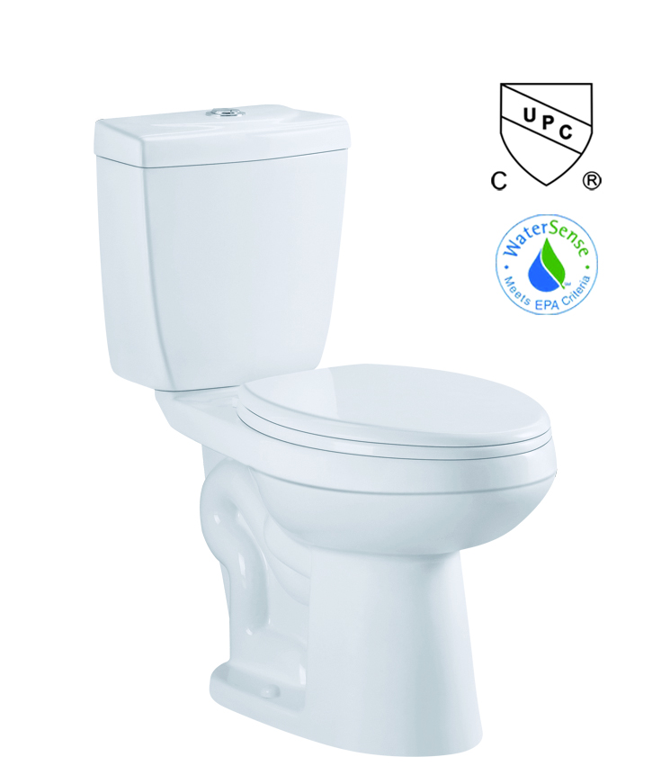 cUPC approved Single Siphonice Flush Eco-friendly two piece toilet elongated