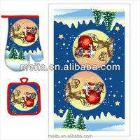 christmas kitchen oven mitt&pot holder&terry towel 3pcs/set
