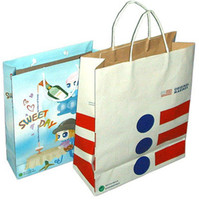 wholesale promotional advertising custom printed kraft paper shopping packaging bags