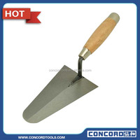 Italian Pattern Carbon Steel Hand Bricklaying Trowel with Wooden Handle,Metal End Cap drywall construction tool