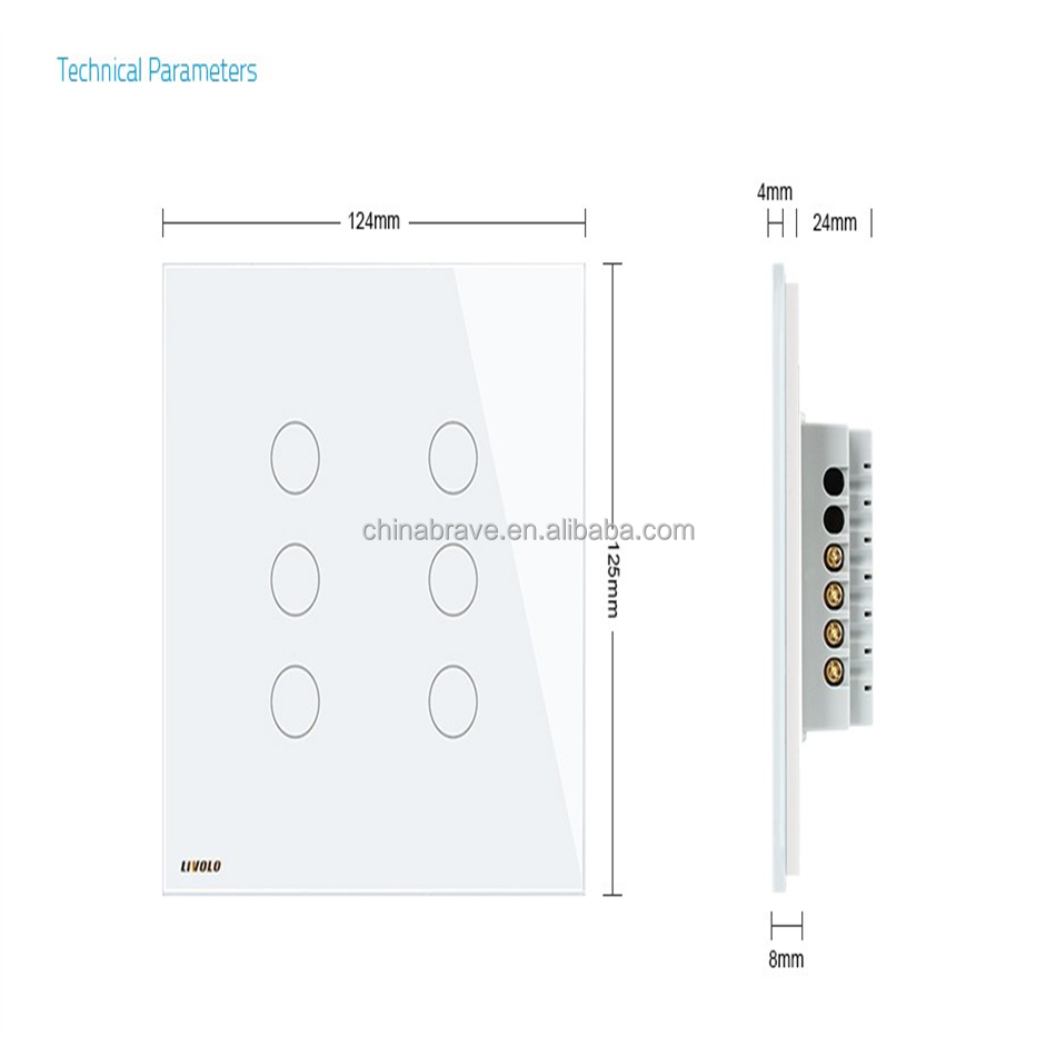 Smartdust ROHS Toughened Glass Plate UK 6 Gang 2 Way Touch Screen Wall Switch