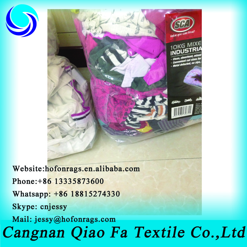Light color 100% cotton rags from cotton fabric cutting waste PACKED in 25kg vacuum bags