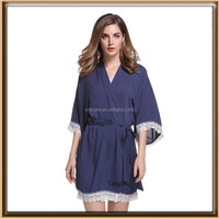 plain colors cotton lace nightgown